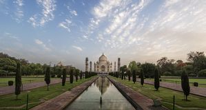 Iconic view of Taj Mahal one of the World Wonders at sunrise, Agra, India. Iconic view of Taj Mahal one of the World Wonders, Agra at sunset, India Royalty Free Stock Photos