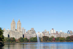Iconic views of the Upper West Side by the Central Park Reservoi Stock Photo
