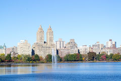 Iconic views of the Upper West Side by the Central Park Reservoi Royalty Free Stock Image