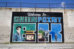 "Iconic ""Welcome to Greenpoint BK"" mural at the India Street Mural Project in Brooklyn Stock Photo"