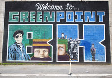 "Iconic ""Welcome to Greenpoint BK"" mural at the India Street Mural Project in Brooklyn Royalty Free Stock Image"