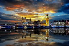 The iconic Westminster Bridge and Big ben Clocktower in London. Just after sunset time, United Kingdom stock photos