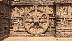 The iconic wheel of Sun God's chariot, at Konark, Odisha. The iconic wheel of Sun God's chariot carved on the walls of Sun Temple, Konark Royalty Free Stock Photo