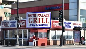 Iconic White Palace Grill. This is a Winter picture of the iconic White Palace Grill located in the West Loop neighborhood of Chicago, Illinois.  The Diner Stock Photos