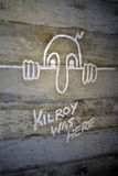 Iconic World War II Grafitti. Kilroy was here was an iconic illustration drawn many American servicemen on buildings in Europe Stock Photos