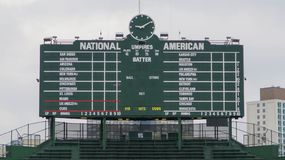 Iconic Wrigley Field Chicago Cubs Scoreboard