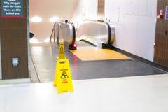 Birmingham/ UK - 03.03.19 :  Wet floor yellow sign at Birmingham train station International stock photos