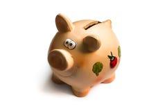 iconique financier de concepts classiques d'affaires de côté de fond de zones a isolé beaucoup le blanc rose porcin de symbole d' Photographie stock libre de droits