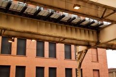 Iconisch de doorgangssysteem van Chicago ` s, de opgeheven trein van Gr Royalty-vrije Stock Foto's