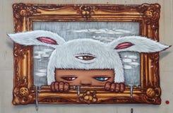 Iconisch karakter door straatkunstenaar Alex Face royalty-vrije stock foto's