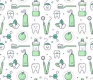 Iconisch naadloos Patroon over tandheelkunde voor jonge geitjes stock illustratie