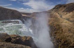 Iconische Gullfoss-waterval IJsland Royalty-vrije Stock Foto