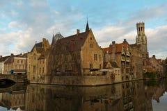 Iconische mening van Brugge, België Stock Foto's