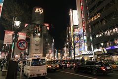 Iconische Shibuya 109 die bij nacht bouwen Royalty-vrije Stock Foto's