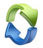 Icono 3D de las flechas. Recicle el símbolo aislado Imagenes de archivo