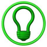 Icono 3d del bulbo de la luz verde Imágenes de archivo libres de regalías