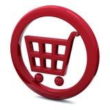 Icono 3d rojo del carro de compras Imagen de archivo libre de regalías