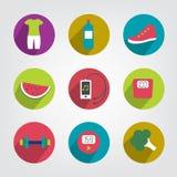 Icono añejo moderno de la vida de la aptitud y de la salud stock de ilustración