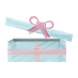 Icono abierto azul y rosado de la caja de regalo Foto de archivo libre de regalías