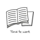 Icono abierto dibujado mano del libro Imágenes de archivo libres de regalías