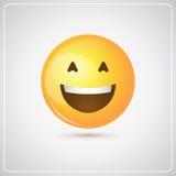 Icono abierto sonriente amarillo de la boca de la emoción positiva de la gente de la cara de la historieta ilustración del vector