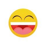 Icono abierto sonriente amarillo de la boca de la emoción positiva de la gente de la risa de la cara de la historieta stock de ilustración