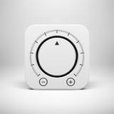 Icono abstracto blanco con el botón del botón del volumen Fotos de archivo
