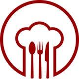 Icono abstracto con el sombrero del cocinero Fotos de archivo