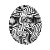 Icono abstracto de la huella dactilar en el papel de casilla blanca Imagen de archivo