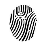 Icono abstracto de la huella dactilar en el papel de casilla blanca Imágenes de archivo libres de regalías