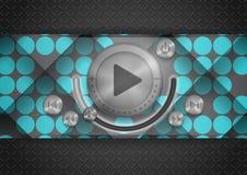 Icono abstracto del App de la tecnología con el botón de la música Fotos de archivo libres de regalías