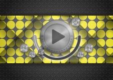 Icono abstracto del App de la tecnología con el botón de la música Imagen de archivo