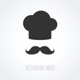 Icono abstracto del vector del sombrero y del bigote del cocinero Imagen de archivo