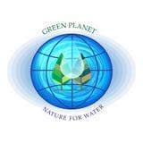 Icono agrícola o Logo Design Collection Over White del paisaje verde del brote ilustración del vector
