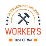 Icono aislado disponible del d?a de trabajo de la llave primero del emblema del acontecimiento de la primavera del vector de mayo libre illustration