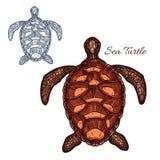 Icono aislado vector de la tortuga de mar Foto de archivo