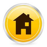 Icono amarillo casero del círculo Imagen de archivo libre de regalías