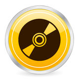 Icono amarillo CD del círculo Foto de archivo libre de regalías