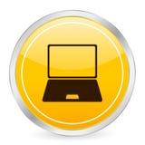 Icono amarillo del círculo de la computadora portátil Fotografía de archivo libre de regalías