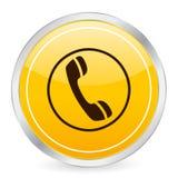 Icono amarillo del círculo del teléfono Fotografía de archivo libre de regalías