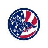 Icono americano de la bandera de Horse Racing los E.E.U.U. del jinete ilustración del vector