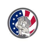 Icono americano de la bandera de los E.E.U.U. del contratista de obras libre illustration