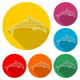 Icono animal de la silueta de los pescados del delfín, delfín de la silueta, icono del color con la sombra larga stock de ilustración