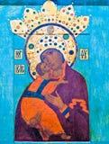 Icono antiguo de Jesús y de Maria Imagen de archivo libre de regalías