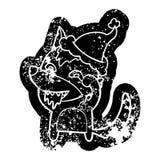 Icono apenado historieta de un lobo hambriento que lleva el sombrero de santa stock de ilustración