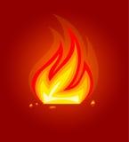 Icono ardiente de la llama del fuego stock de ilustración