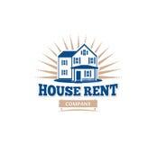 Icono arquitectónico aislado de la casa del color azul para el emblema del prospecto del negocio de las propiedades inmobiliarias ilustración del vector