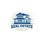 Icono arquitectónico aislado de la casa del color azul para el emblema del prospecto del negocio de las propiedades inmobiliarias stock de ilustración