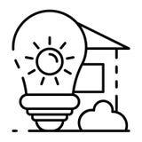 Icono arquitectónico de la idea del bulbo, estilo del esquema ilustración del vector