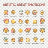 Icono artístico de la sonrisa del emoji del vector del artista del Emoticon fijado para la web stock de ilustración